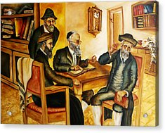 Acrylic Print featuring the painting Studying Gmara by Itzhak Richter