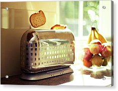 Stylish Chrome Toaster Popping Up Toast Acrylic Print by Kelly Sillaste