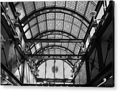 Subway Glass Station In Black And White Acrylic Print by Rob Hans