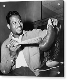 Sugar Ray Robinson Dusting Acrylic Print by Everett