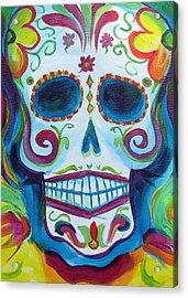 Sugar Skull Acrylic Print by Janet Oh