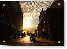 Summer Sunset Over A Cobblestone Street - New York City Acrylic Print