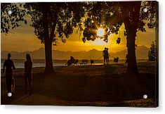 Summer's Last Sunset Acrylic Print by Ken Stanback