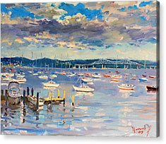 Sun And Clouds In Hudson Acrylic Print