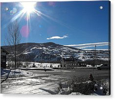 Sun On Ice Acrylic Print by Adam Cornelison