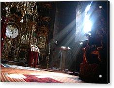 Sun Rays In Orthodox Church Acrylic Print by Emanuel Tanjala