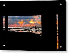 Sun Rise From Under The Pier Acrylic Print by Mark Longtin