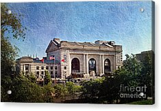 Sun Rising On Union Station In Kansas City Tv Acrylic Print by Andee Design