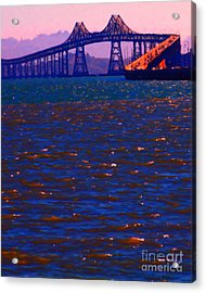 Sun Setting Beyond The Richmond-san Rafael Bridge - California - 5d18435 Acrylic Print by Wingsdomain Art and Photography
