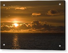 Sun Setting On The Ocean With The Acrylic Print by Michael Interisano