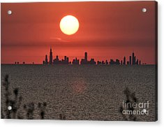 Sun Setting Over Chicago Acrylic Print by Christopher Purcell