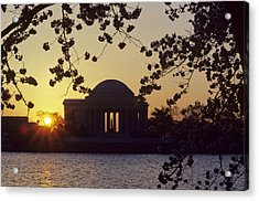 Sun Setting Over The Jefferson Memorial Acrylic Print by Kenneth Garrett