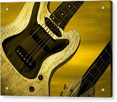 Sun Stained Yellow Electric Guitar Acrylic Print by Mark Moore