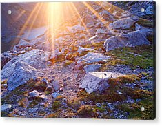Acrylic Print featuring the photograph Sunburst Over Abyss Lake by Jim Garrison