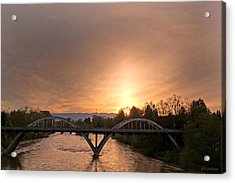 Sunburst Sunset Over Caveman Bridge Acrylic Print