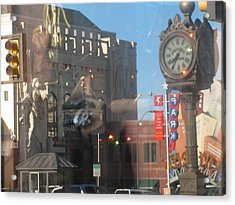 Sundance Square Reflection  Acrylic Print by Shawn Hughes