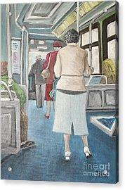 Sunday Morning Bus Stop Acrylic Print