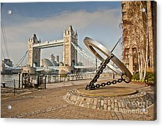 Sundial At Tower Bridge Acrylic Print by Donald Davis