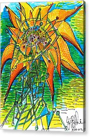 Sunflower Construction Acrylic Print by Jon Baldwin  Art
