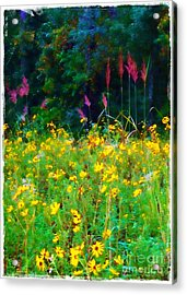 Sunflowers And Grasses Acrylic Print by Judi Bagwell
