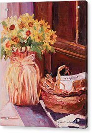 Sunflowers And The Breadbasket Acrylic Print by Jane Woodward