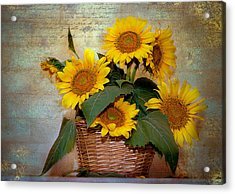 Acrylic Print featuring the photograph Sunflowers by Anna Rumiantseva