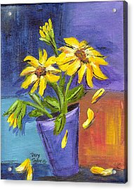 Sunflowers In A Blue Pot Acrylic Print