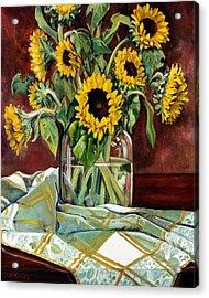 Sunflowers In A Jar Acrylic Print by Sheila Kinsey