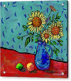 Sunflowers In A Milk Pitcher Acrylic Print