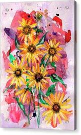 Sunflowers Acrylic Print by Linda Palmer