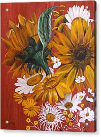 Acrylic Print featuring the painting Sunflowers by Lynn Hughes