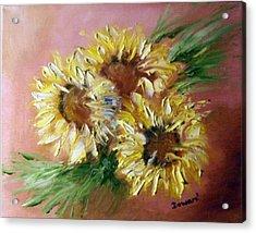 Acrylic Print featuring the painting Sunflowers by Raymond Doward