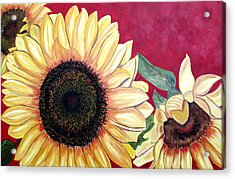 Sunflowers Three  Acrylic Print by Maria Soto Robbins