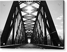 Acrylic Print featuring the photograph Sunlight Through The Peshtigo Train Bridge by Mark J Seefeldt