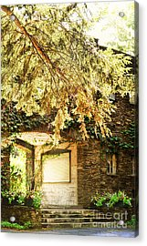 Sunlit Stone Building With Grapevines Acrylic Print by HD Connelly