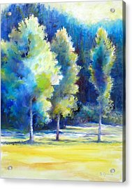 Acrylic Print featuring the painting Sunlit Trees by Bonnie Goedecke