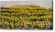 Sunny Field Series With Gold Leaf By Vic Mastis Acrylic Print by Vic  Mastis