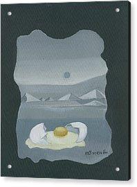 Sunny Side Up Breakfast Yellow White Egg With Broken Shell In Surrealistic Desert Landscape Fantasy Acrylic Print by Rachel Hershkovitz