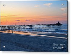 Sunrise At Cherry Grove Pier Acrylic Print by Bob and Nancy Kendrick