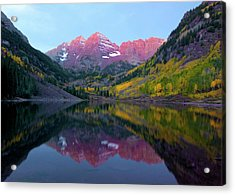 Sunrise At Maroon Bells Acrylic Print by Carolyn Dalessandro