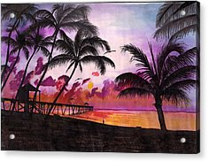 Sunrise At The Deerfield Beach Pier Acrylic Print