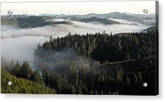 Acrylic Print featuring the photograph Sunrise Fog And Bridge by Katie Wing Vigil