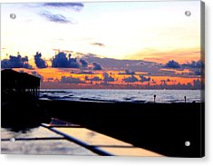 Sunrise In Galveston Acrylic Print by Mark Longtin