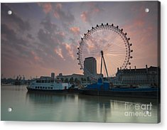 Sunrise London Eye Acrylic Print by Donald Davis