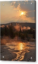 Sunrise Near Yellowstone's Punch Bowl Spring Acrylic Print by Bruce Gourley