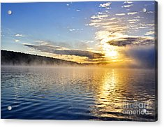 Sunrise On Foggy Lake Acrylic Print by Elena Elisseeva
