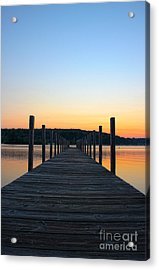 Sunrise On The Docks Acrylic Print by Michael Mooney