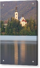 Sunrise Over Lake Bled And The Island Church Acrylic Print