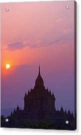 Sunrise Over Stupa Temple In Bagan Acrylic Print by Carson Ganci