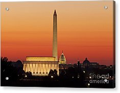 Acrylic Print featuring the photograph Sunrise Over Washington Dc by Brian Jannsen